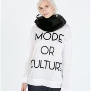 Zara White Top Tee long sleeve mode or culture M
